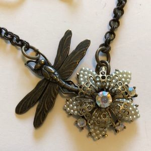 Dragonfly and flower necklace